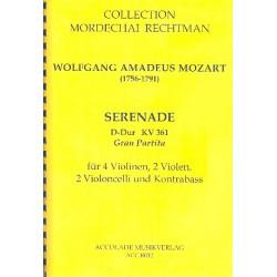 Mozart, Wolfgang Amadeus: Gran Partita KV361 für 4 Violinen, 2 Violen, 2 Violoncelli und Kontrabaß Partitur und Stimmen