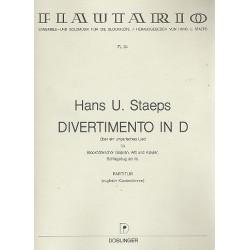 Staeps, Hans Ulrich: Divertimento über ein ungarisches Lied in D : für 4 Blockflöten (SSAA) und Klavier, Partitur ( Klavier)