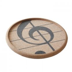 Tablett Kork Violinschlüssel 30 cm (mit erhöhtem Rand)