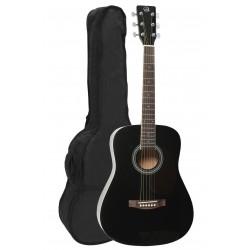 VGS D-Baby Mini-Akustikgitarre (3/4-Westerngitarre) inkl. Tasche, schwarz