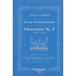 Händel, Georg Friedrich: Chaconne Nr.5 : für 3 Trompeten, Horn, 2 Posaunen, Tuba und Orgel