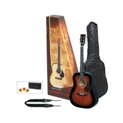 TENSON Westerngitarre Player Pack, violinburst (inkl Tasche, Gurt, Stimmgerät, Plektren)