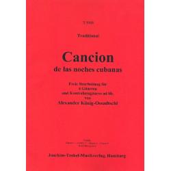 Cancion de las noches cubanas für 4 Gitarren und Kontrabassgitarre Partitur und Stimmen