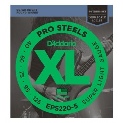D'Addario EPS220-5 Saiten für E-Bass, ProSteels - 5-String/Long (.40 - .125)
