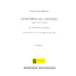 Dall'Abaco, Evaristo Felice: Concerto all unisono D-Dur op.2,6 für Cembalo und Zupforchester Mandoline 1