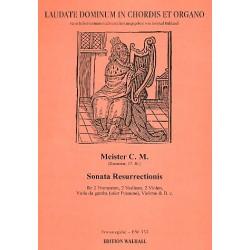 Meister C. M.: Sonata resurrectionis für 2 Trompeten, 2 Violinen, 2 Violen, Viola da gamba (Posaune), Violo Partitur und Stimmen