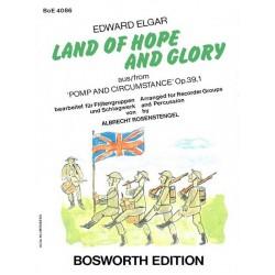 Elgar, Edward: Land of Hope and Glory : für 4 Blockflöten (SATB/Ensemble) und Schlagwerk Partitur und Stimmen, Verlagskopie