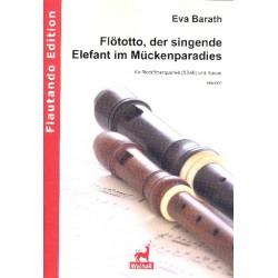 Barath, Eva: Flötotto der singende Elefant im Mückenparadies für 4 Blockflöten (SSAB) und Klavier Partitur und Stimmen