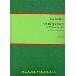 Grethen, Luc: Oh happy Flutes : für Flötenensemble und Cembalo (Klavier) Partitur