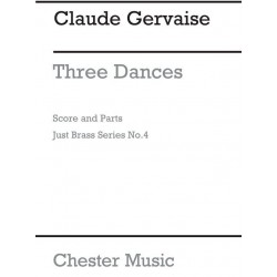 Gervaise, Claude: 3 Dances for 2 trumpets, horn, trombone (tambourine ad lib) score and parts