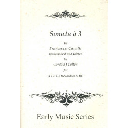 Cavalli, Pier Franceso: Sonata à 3 : for recorders (ATBGb) score and parts