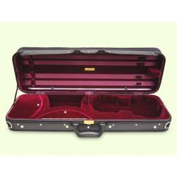 BERGNER Violinetui seidenplüsch rot/ schwarz mit Violinschutzdecke