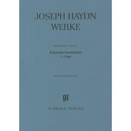Haydn, Joseph Klaviersonaten 3. Folge Kritischer Bericht