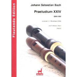 Bach, Johann Sebastian: Präludium Nr.24 BWV869 : für 3 Blockflöten (SSB) Partitur und Stimmen