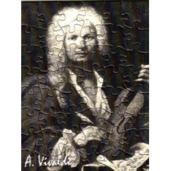 Postkarte Puzzle (48 Teile): Portrait Vivaldi mit Umschlag