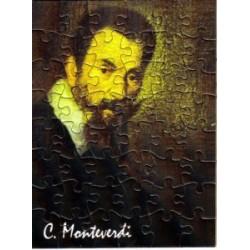 Postkarte Puzzle (48 Teile): Portrait Monteverdi mit Umschlag