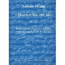 Vivaldi, Antonio: Konzert F-Dur RV442 : für 4 Blockflöten (AATB) (Ensemble) Partitur und Stimmen