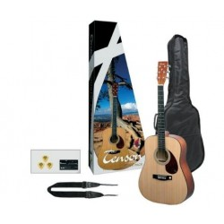 TENSON Westerngitarre Player Pack, natural (inkl Tasche, Gurt, Stimmgerät, Plektren)