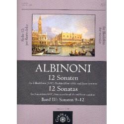 Albinoni, Tomaso: 12 Sonaten Band 3 (Nr.9-12) : für 3 Blockflöten (AAT) und Bc (Bassblockflöte ad lib) Partitur und Stimmen (Bc