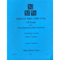 Bach, Johann Sebastian: 12 Duets from Anna Magdalena Bach Notebook : for trumpet and trombone score