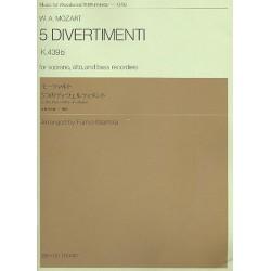 Mozart, Wolfgang Amadeus: 5 Divertimenti K439b : für 3 Blockflöten (SAB) Partitur