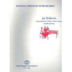 Schickhardt, Johann Christian: 12 Sonaten op.7 : f├╝r 2 Oboen (Violinen) und Bc Facsimile Stimmen