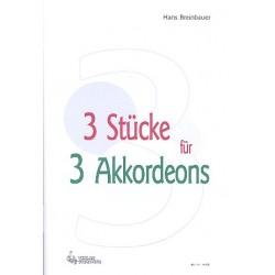Breinbauer, Hans: 3 Stücke : für 3 Akkordeons Partitur und Stimmen