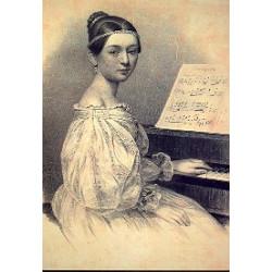 Giere, Julius: Postkarte Clara Wieck am Flügel