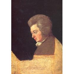 Postkarte: W.A. Mozart: unvollendetes Ölgemälde von Jos. Lange (1789)
