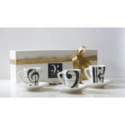 Kaffeebecher mit Untertasse Musik (Set mit 3 Stk)