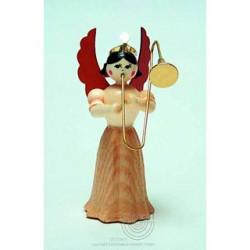 Engel, Langrock, mit Posaune, 7cm, natur