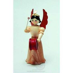 Engel, Langrock, mit Trommel, 7cm, natur
