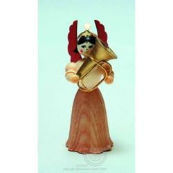 Engel, Langrock, mit Tuba, 7cm, natur