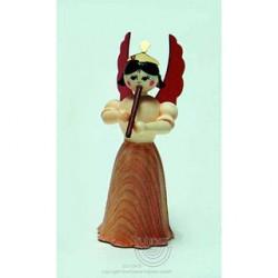 Engel, Langrock, mit Flöte, 7cm, natur