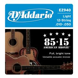 D'Addario EZ940 American Bronze Akustik/Westerngitarrensaiten (12-saitig) - light (.010-.050)