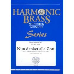 Bach, Johann Sebastian: Nun danket alle Gott BWV79 : für 2 Flügelhörner, Horn, Posaune, Tuba und Orgel Stimmen
