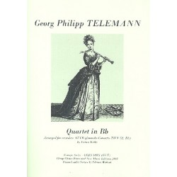 Telemann, Georg Philipp: Quartet in Bb from Concerto TWV52:B1 for 4 recorders (ATTB) score and parts