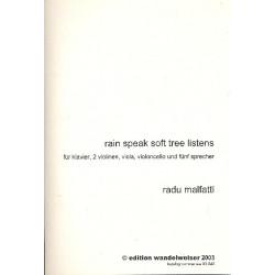 Malfatti, Radu: Rain speak soft Tree listens : für Klavier, 2 Violinen, Viola, Violoncello und 5 Sprecher Spielanweisung