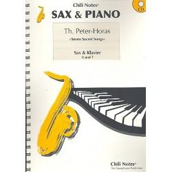 Peter-Horas, Thomas: 7 Secret Songs (+CD) : für 2 Saxophone (A/T) und Klavier Stimmen