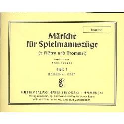Märsche für Spielmannszüge Band 1 : für 2 Flöten und Trommel Trommel