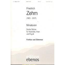 Zehm, Friedrich: Miniaturen : 6 St├╝cke f├╝r Klarinette, Horn und Fagott Partitur+Stimmen