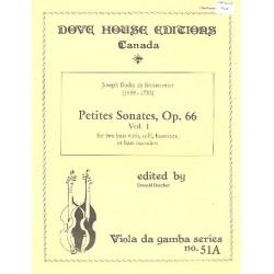 Boismortier, Joseph Bodin de: Petites sonates op.66 vol.1 : for 2 bass viols (celli/Bassoon/bass refcorders) 2 scores