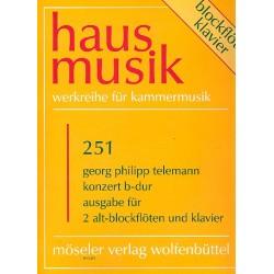 Telemann, Georg Philipp: Konzert B-Dur : für 2 Altblockflöten und Klavier