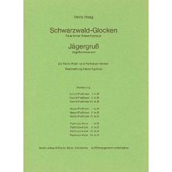 Haag, Heinz: Schwarzwaldglocken und Jägergruss : für 3 Ventil-Pleßhörner, 3 Natur-Pleßhörner und 4 Parforce-Hörner Stimmen