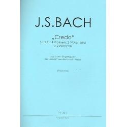 Bach, Johann Sebastian: Credo aus der Messe h-Moll BWV232 für 4 Violinen, 2 Violen und 2 Violoncelli Partitur und Stimmen