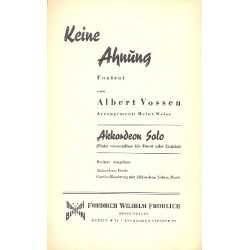 Vossen, Albert: Keine Ahnung : f├╝r Akkordeon und Klavier