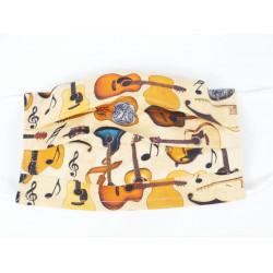 Gesichtsmaske mit Musik Design - Gitarren auf beige