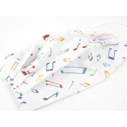 Gesichtsmaske mit Musik Design - Noten weiß/bunt