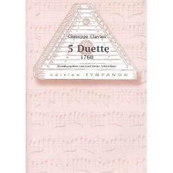 Clavari, Giuseppe: 5 Duette um 1760 : für Hackbrett 2 Partituren