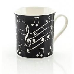 Tasse mit Noten weiß auf schwarz